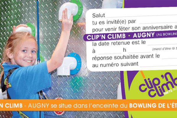 invitation anniversaire - clip'n climb (escalade) - augny